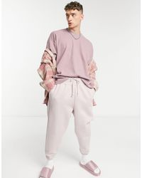 ASOS - Oversized-футболка Из Плотного Вафельного Трикотажа Выбеленного Фиолетового Цвета - Lyst