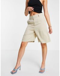 ALIGNE Recycled Longline City Shorts With Pin Tuck Front Co-ord - Natural
