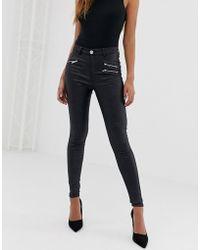 Lipsy Coated Skinny Jeans In Regular - Black