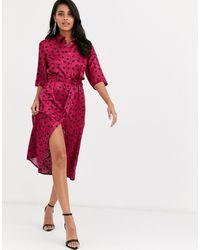 Closet Черно-розовое Oversize Платье-рубашка С Принтом -розовый