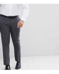 Farah Plus Skinny Suit Trousers In Fleck - Grey