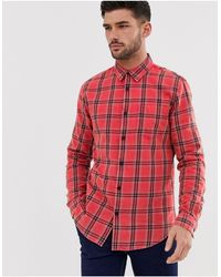 New Look Regular Fit Washed Check Shirt - Red
