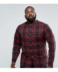 ASOS Design Plus Stretch Slim Check Shirt In Red With Grandad Collar