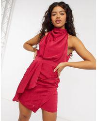 Forever New Атласное Платье Мини Ягодного Цвета С Запахом И Высоким Воротником -розовый Цвет - Красный
