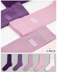 River Island Набор Из 5 Пар Носков Фиолетовых Тонов -фиолетовый Цвет - Пурпурный