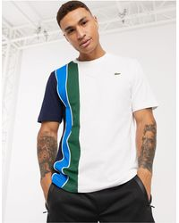 Lacoste Sport Lacoste - T-shirt con pannello laterale a righe bianca - Bianco