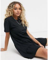 Bershka Loose Fit Smock Tshirt Dress - Black