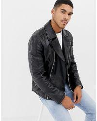HUGO - Lanster Shearling Lined Leather Biker Jacket In Black - Lyst