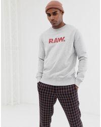 493ca0d366e G-Star RAW Crew Sweatshirt Resap G Raw Logo In Light Blue Heather in ...