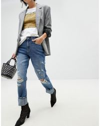 Pieces - Distressed Boyfriend Jean - Lyst