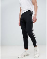 Burton Tapered Smart Trousers With Side Stripe In Black