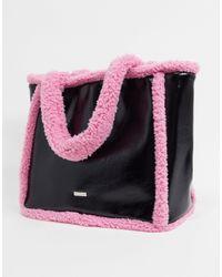Skinnydip London Черно-розовая Сумка-тоут С Отделкой Искусственным Мехом -черный - Розовый