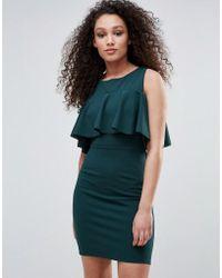 Wal-G Cold Shoulder Frill Detail Dress - Green