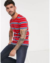 SELECTED Organic Cotton Triple Stripe T-shirt - Red