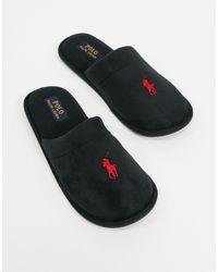 Ralph Lauren Черные Слиперы-слипоны Polo -черный