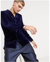 ASOS - Темно-синяя Вельветовая Рубашка Облегающего Кроя С Шалевым Воротником - Lyst