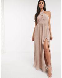 Bariano Shimmer Plisse Halter Neck Maxi Dress - Metallic