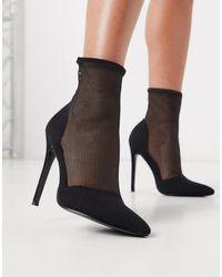 ASOS Estelle - Mesh Sock Boots - Zwart