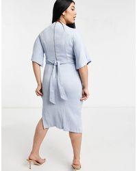 Closet London Plus Ribbed Pencil Midi Dress With Tie Belt - Blue