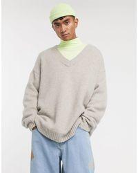 ASOS Oversized V-neck Sweater - Gray