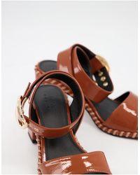 ASOS Harvest Block Heeled Mid Sandals - Brown