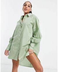 Threadbare Oversized Balloon Sleeve Shirt Dress - Green
