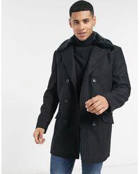 French Connection Двубортное Пальто С Воротником Из Искусственного Меха -черный Цвет