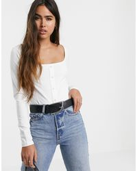 Warehouse Long Sleeved Top With Popper Detail - White