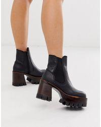 Jeffrey Campbell Leren Chelsea Boots Met Gelaagde Plateauzool - Zwart