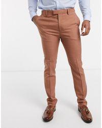 TOPMAN Skinny Fit Suit Trousers - Brown