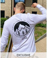Columbia In esclusiva per asos - - cades cove - t-shirt a maniche lunghe bianca - Bianco