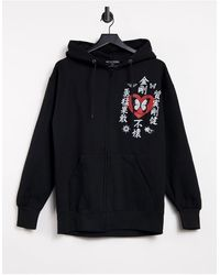 New Girl Order Oversized Zip Up Hoodie With Butterfly Graphic-black