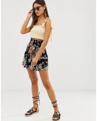 Vero Moda Floral Flippy Skirt - Black