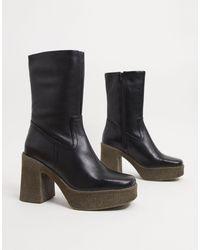 ASOS - Черные Кожаные Ботинки На Платформе - Lyst
