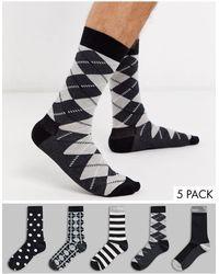 Happy Socks Hs Van 5 Pak Sokken - Zwart