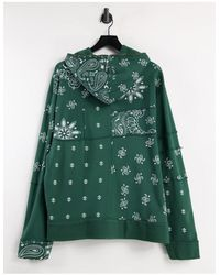 Jaded London Co-ord Cut And Sew Paisley Hoodie - Green