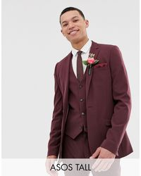 ASOS Tall Super Skinny Suit Jacket - Red