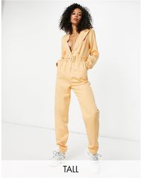 Missguided Tailored Jumpsuit With Belted Waist Detail - Natural