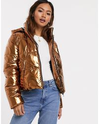 Pieces - High Shine Puffer Jacket-brown - Lyst