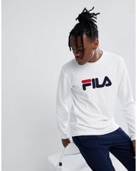 Fila - Black Line Terry Towelling Sweatshirt With Logo In White - Lyst