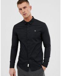 Jack Wills Enges Popeline-Hemd mit Stretchanteil in Schwarz
