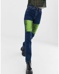 The Ragged Priest Mom Jeans With Faux Leather Snakeskin Panels - Blue