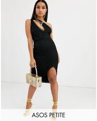 ASOS Asos Design Petite One Shoulder Lace Midi Dress With Slash Front Detail - Black