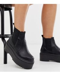 94da07b04dc ASOS Bridget Wide Fit Chunky Ankle Boots in Black - Lyst