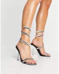 Public Desire Axel Heeled Sandals With Silver Plating - Black