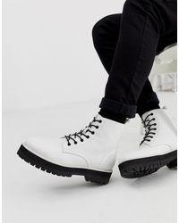 ASOS - Белые Ботинки Из Искусственной Кожи На Шнуровке И Толстой Подошве - Lyst