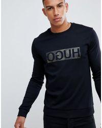 HUGO - Dicago-u Crew Neck Sweat With Reverse Camo Print Logo In Black - Lyst