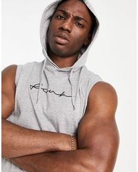 French Connection Fcuk Script Sleeveless Hoodie - Grey