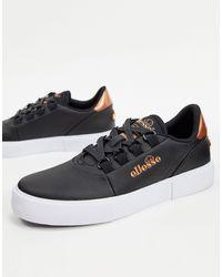 Ellesse Alto Leather Lace Up Sneakers - Black