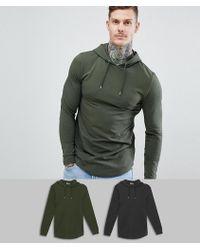 ASOS - Design Longline Muscle Hoodie With Curved Hem In Black/khaki 2 Pack - Lyst